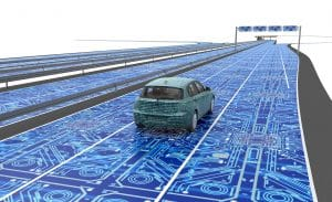 Image of car on road with superimposed circuitboard - Systems engineering consulting.